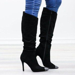 Pointy Toe Below The Knee Black Boots Faux Suede
